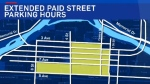 Map of downtown Calgary indicating areas where metered street parking will begin at 7:00 a.m. instead of 9:00 a.m.