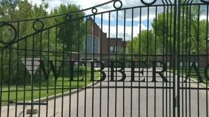 The gates to Webber Academy in southwest Calgary