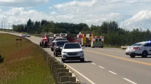 Emergency crews at the scene of Sunday afternoon's crash on Highway 27 (courtesy: Tera Little)