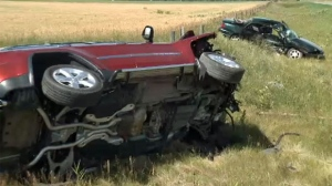 Wreckage following Wednesday afternoon's fatal crash at the intersection of Brown Rd and Howe Rd, east of Lethbridge