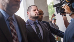 Constable James Forcillo arrives at a Toronto courthouse on Thursday, July 28, 2016. (Michelle Siu / THE CANADIAN PRESS)