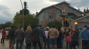 A gathering met outside the home of Natasha Gould, a 12-year-old girl whose battle with a rare from of brain cancer which has been an inspiration to many.