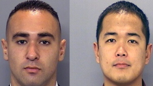 San Diego Police Department photos show officers Wade Irwin and Jonathan DeGuzman, who were shot on Thursday, July 28, 2016. (San Diego Police Department via AP)
