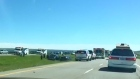 Multiple vehicle crashes on the TransCanada Highway west of Calgary on Saturday slowed down long weekend traffic.