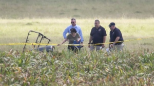 "The partial frame of a hot air balloon is visible above a crop field at the scene in a field near Lockhart, Texas where a hot air balloon carrying at least 16 people collided with power lines Saturday, July 30, 2016, causing what authorities described as a ""significant loss of life."" (Ralph Barrera/Austin American-Statesman via AP)"