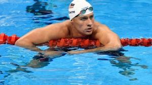 United States' Ryan Lochte checks his time after a men' 4x200-meter freestyle relay heat during the swimming competitions at the 2016 Summer Olympics in Rio de Janeiro, Brazil on Aug. 9, 2016.  (AP /Martin Meissner)