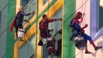Thor, Iron Man and Spider-Man washing the windows of the Alberta Children's Hospital on August 24, 2016