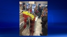 A line of customers at Whitbie's in Lethbridge following the mass sharing of a Facebook post (courtesy: Colin Ross)