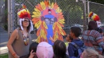 Jennifer Dorner posted this photo to Facebook, which she said illustrates a teacher wearing a fake headdress.