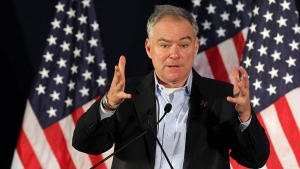 Democratic vice presidential candidate, Sen. Tim Kaine, D-Va., speaks in Pembroke Pines, Fla., Saturday, Aug. 27, 2016. (Pedro Portal/Miami Herald via AP)