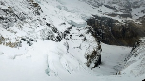 Parks Canada photograph indicating the spot of Sunday's fatal avalanche on Mount Victoria (courtesy: Parks Canada)