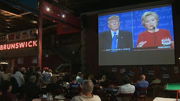 A number of people filled the seats at Schanks North where a viewing party for the first debate between Donald Trump and Hillary Clinton took place.