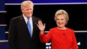 Republican presidential nominee Donald Trump and Democratic presidential nominee Hillary Clinton at Hofstra University in Hempstead, N.Y., on Sept. 26, 2016. (David Goldman / AP)