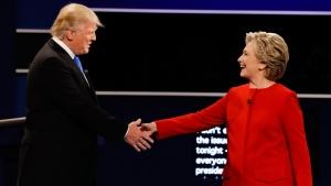Republican presidential nominee Donald Trump and Democratic presidential nominee Hillary Clinton shake hands during the presidential debate at Hofstra University in Hempstead, N.Y., Monday, Sept. 26, 2016. (David Goldman / AP)