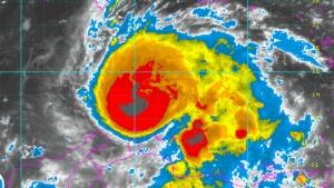 Hurricane Matthew is shown in this enhanced NOAA satellite image taken 3:15 a.m. ET, Friday, Sept. 30, 2016.