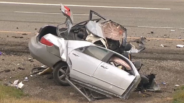 A person has been sent to hospital after a serious crash on Deerfoot Trail on Friday morning.