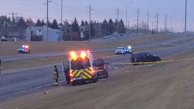 One person died and two people have life-threatening injuries after a crash on McKnight Boulevard.