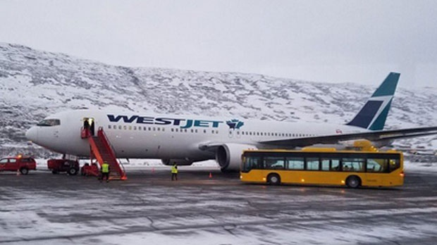 WestJet flight lands in Greenland
