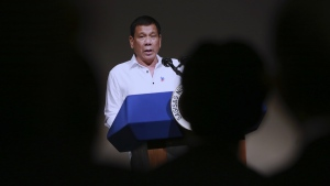 Philippine President Rodrigo Duterte delivers a speech at the Philippine Economic Forum in Tokyo, Wednesday, Oct. 26, 2016. (AP / Eugene Hoshiko)