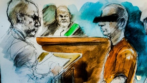 This court sketch shows a 49-year-old man who cannot be identified appearing in an Oshawa courthouse on Oct. 27, 2016. (Pam Davies for CTV News)