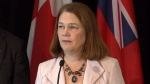 Health Minister Jane Philpott answers questions during the Opioid Summit in Ottawa on Friday, Nov. 18, 2016.