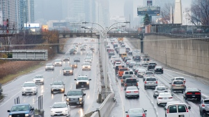 Vehicles driving on the Gardiner Expressway in Toronto on Nov. 24, 2016. (Nathan Denette / THE CANADIAN PRESS)