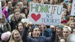 Students from Citadel High School protest outside the legislature in Halifax on Friday, Dec. 2, 2016. Students across the province expressed their support for teachers after contract talks between the Nova Scotia Teachers Union and the province broke down. (THE CANADIAN PRESS/Andrew Vaughan)