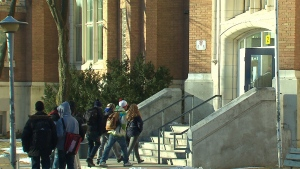 Students enter Oakwood Collegiate Institute in Toronto in this undated image.