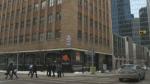 Empty downtown buildings