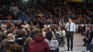 Prime Minister Justin Trudeau takes questions during a town hall in Halifax on Monday, January 16, 2017. THE CANADIAN PRESS/Darren Calabrese