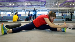 Long-track speedskater Marsha Hudey trains at the Olympic Oval in Calgary, Alta., Wednesday, Jan. 18, 2017. The 26-year-old Olympian from White City, Sask., will occasionally skip buying the supplements that help her recover between training sessions because they're expensive. (THE CANADIAN PRESS / Todd Korol)