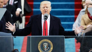 U.S. President Donald Trump delivers his inaugural address after being sworn in as the 45th president of the United States during the 58th Presidential Inauguration at the U.S. Capitol in Washington on Friday, Jan. 20, 2017. (AP Photo/Patrick Semansky)