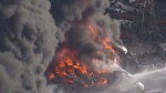 Thick black smoke could be seen billowing up from Mitchell Island in Richmond, B.C. after a fire began just before noon. (CTV News). Jan. 20, 2017.