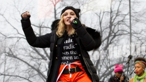 Madonna performs on stage during the Women's March rally, Saturday, Jan. 21, 2017, in Washington. (Jose Luis Magana/AP)