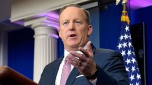 White House press secretary Sean Spicer speaks during the daily briefing at the White House in Washington, Monday, Jan. 23, 2017. Spicer answered questions about prescriptions drug costs, trade, President Donald Trump's schedule among other topics. (AP Photo/Susan Walsh)
