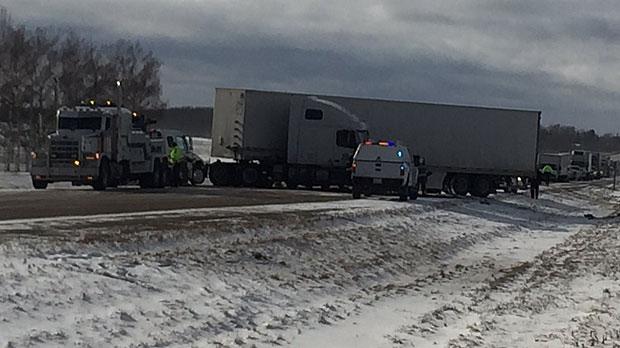 One woman dead in three-vehicle crash on QEII near Bowden