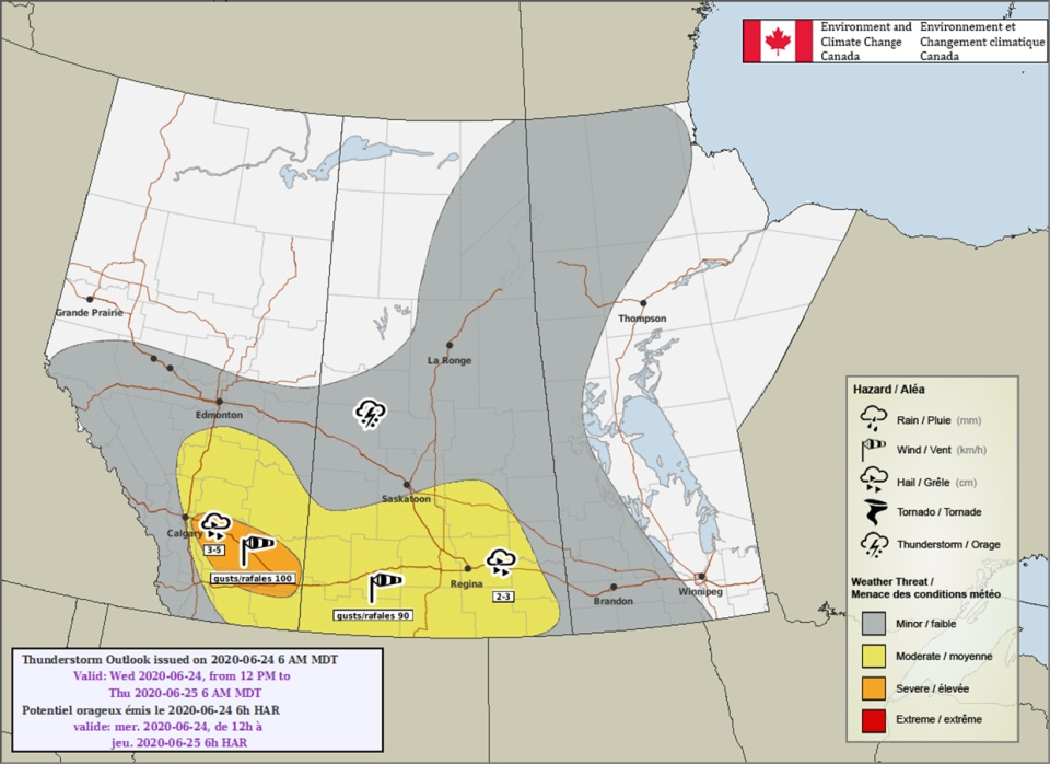Environment Canada, thunderstorm outlook, June 24
