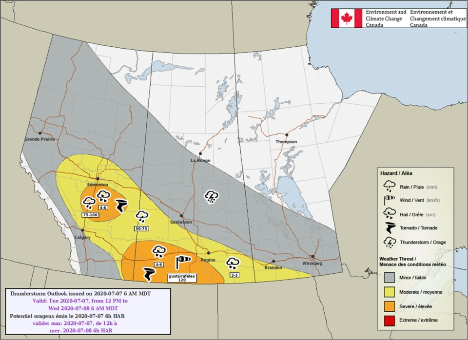 Environment Canada, thunderstorm outlook