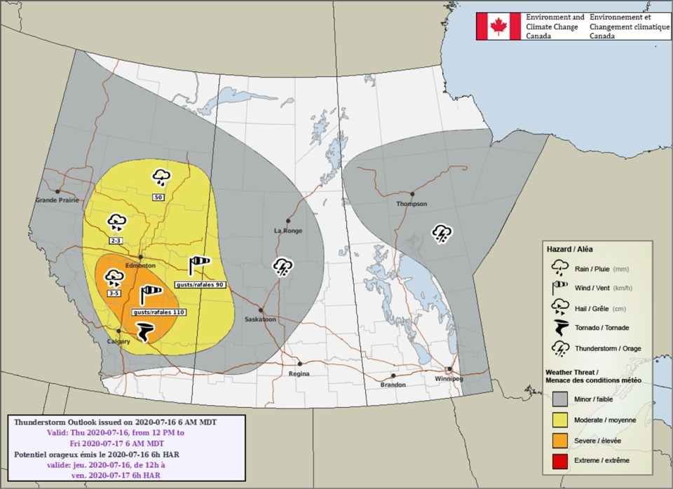 Environment Canada, July 16, thunderstorm outlook