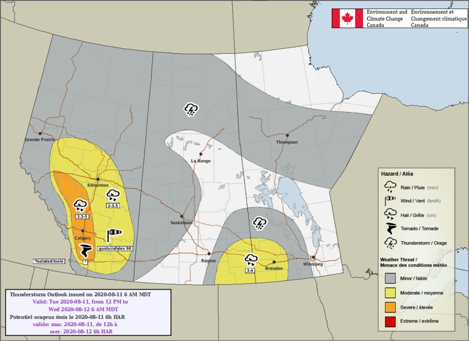 Thunderstorm outlook, August 11