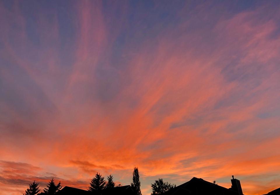 Calgary, suburbs, colourful sky, clouds