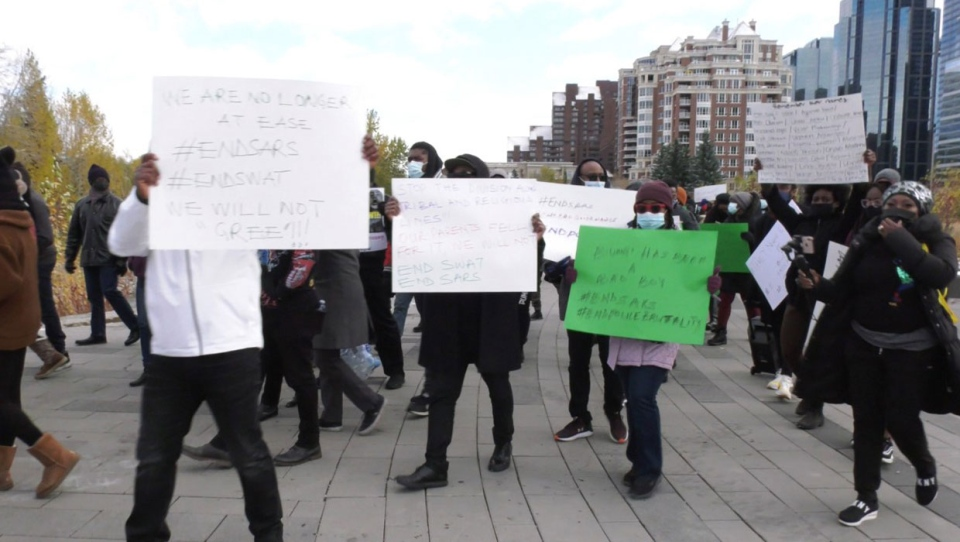 calgary, nigeria, protest, peace bridge, sars, pol