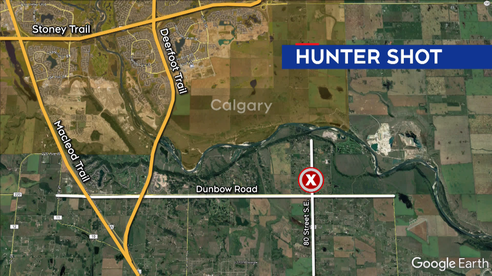 hunter, shot, Calgary, Dunbow Road