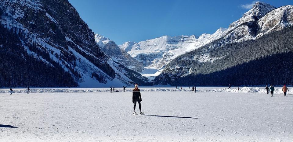 Lake Louise, skating, Nancy