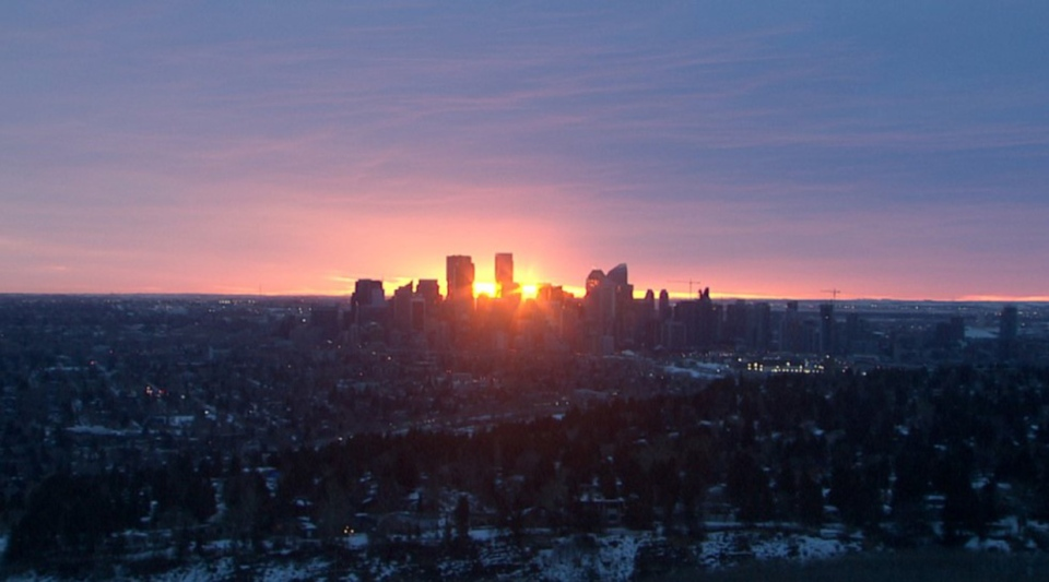 Calgary, skyline, sunrise, March