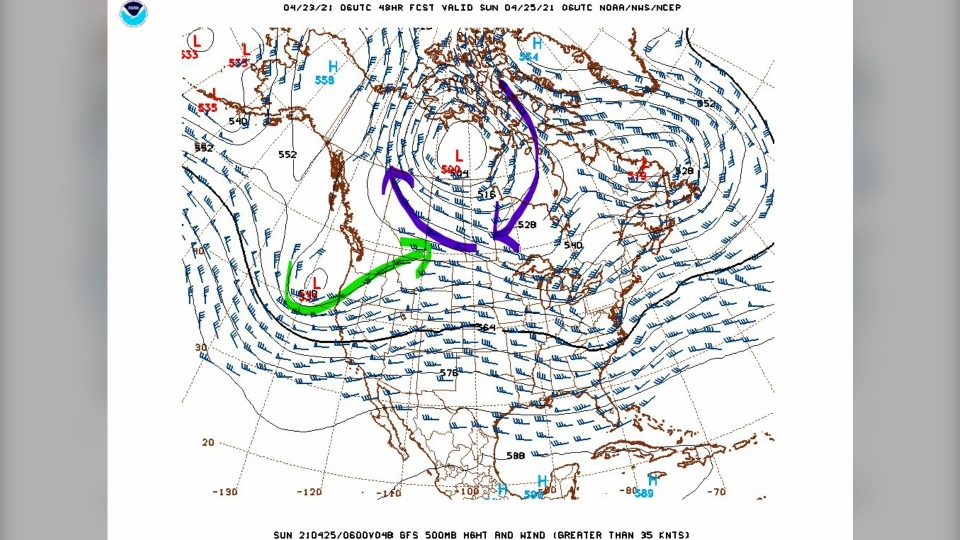 Calgary upper air pattern April 23, 2021