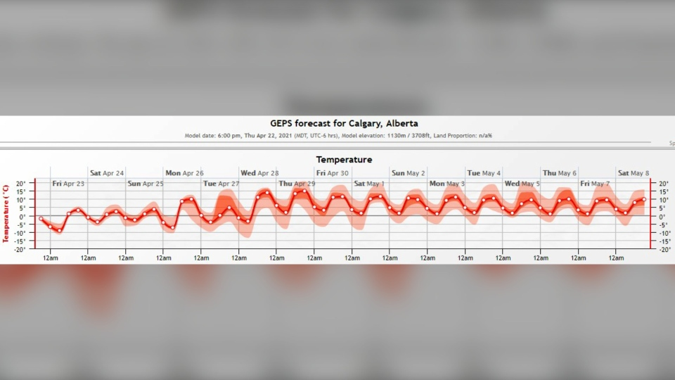 Calgary weather pattern April 23, 2021