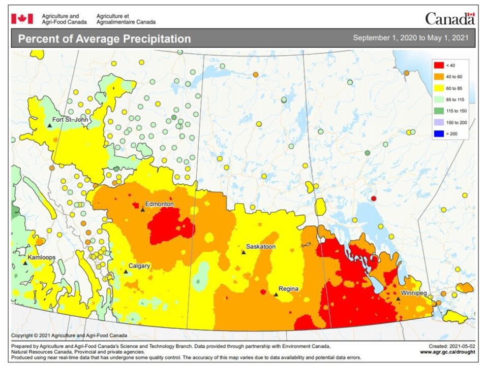 Environment Canada, May 2, average precipitation