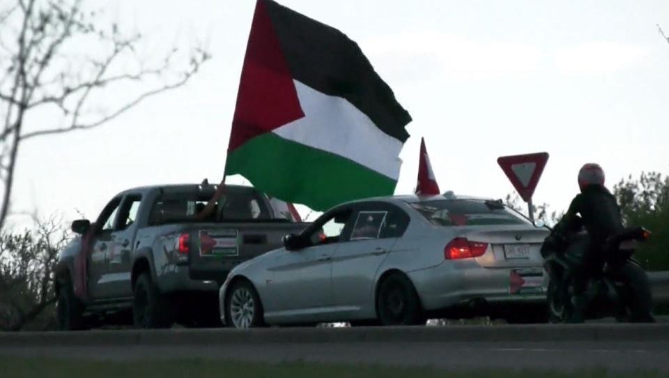 calgary, pro-palestinian, rally, car rally, demons