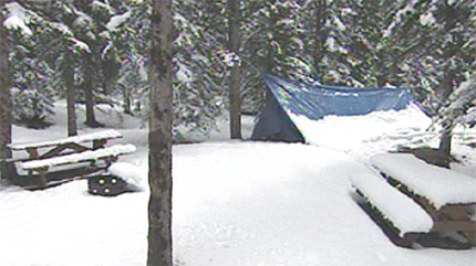 Camp spots in Maclean Creek were coated in snow on Thursday morning.